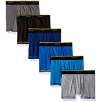 Hanes Boys B74CC6 Cool Comfort Breathable Mesh Boxer Brief 6-Pack Boxer Briefs - Multi