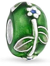[ブリング?ジュエリー] Bling Jewelry小さな花 模様 グリーン エナメル ヨーロピアン スタイル チャーム ビーズ スターリングシルバー SILVER 925 [インポート]