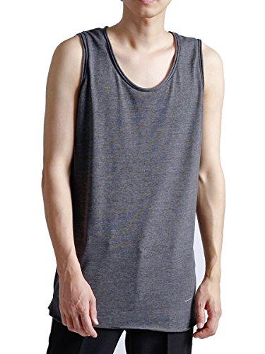 (モノマート) MONO-MART ロング丈 タンクトップ ツインロール ゆる シルエット ロング 裾ラウンド 丈 MODE Uネック メンズ チャコール Mサイズ