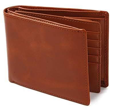 (ポルトラーノ) portolano 二つ折り財布 本革 牛革 大容量 カード15枚収納 メンズ レディース (ブラウン)