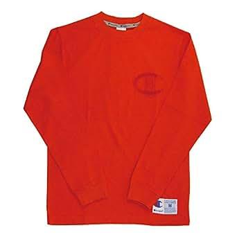 (チャンピオン) Champion ロングスリーブ ロゴ Tシャツ ロンT カットソー 刺繍ロゴ メンズ レディース M 840_Orange C3-L422