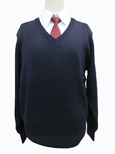 スクールセーター(MS1000)男女兼用|Vネック|ウール100%|丸洗いOK|毛玉防止|紺/黒 (<6>L, 紺(K))
