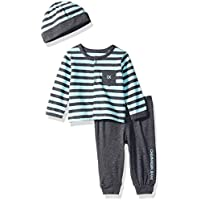 Calvin Klein Baby Boys 2 Pieces Cardigan Pant Set with HAT