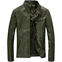 Fairylinks Leather Jacket Men Lightweight Bomber Jackets and Coats