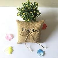 Kongqiabona Bowknot Decorative Ring Pillow 15 * 15cm Burlap Finger Ring Cushion Romantic Bridal Decorations Charming Party Supplies
