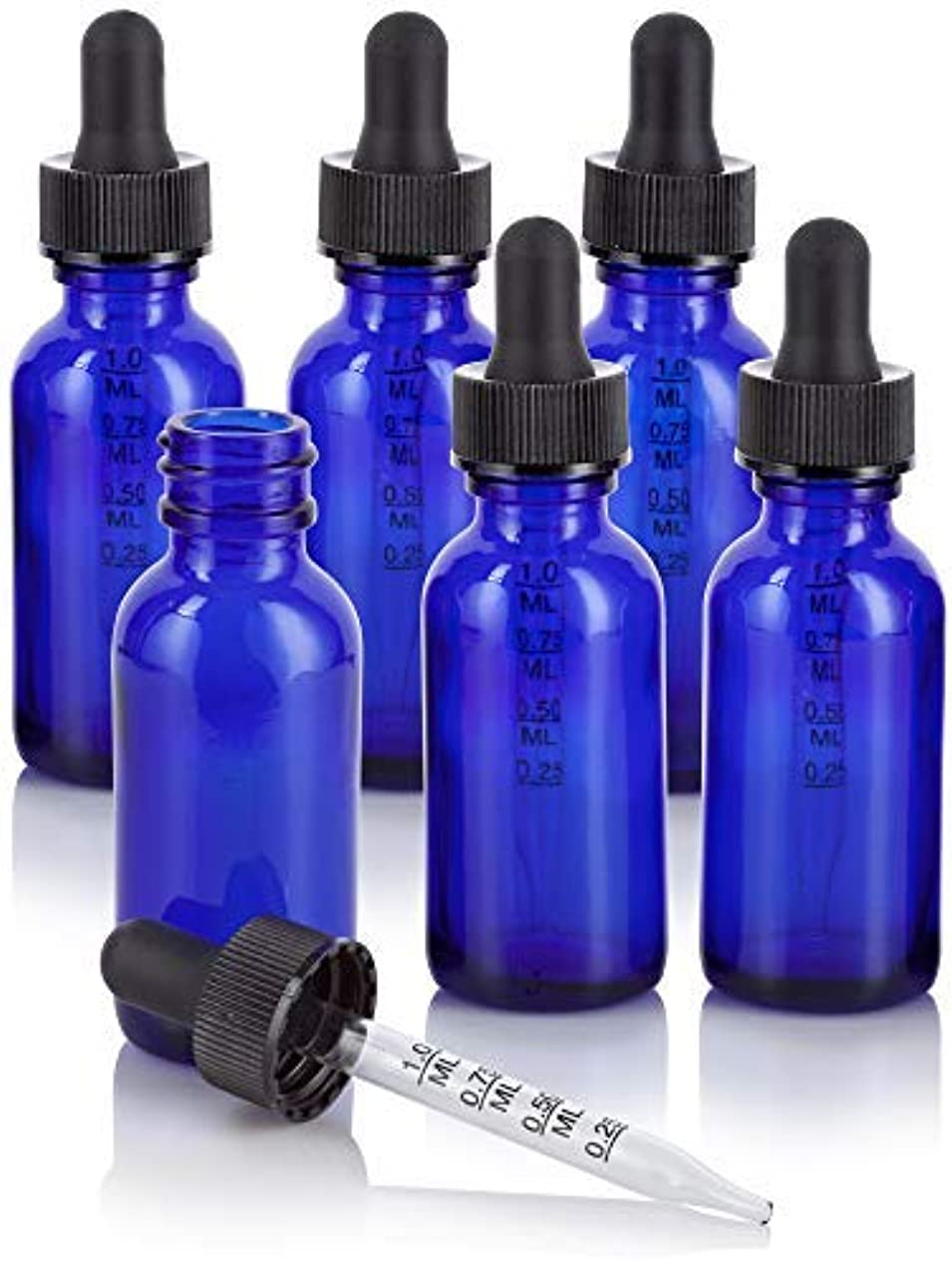 カンガルーライオネルグリーンストリート属性1 oz Cobalt Blue Glass Boston Round Graduated Measurement Glass Dropper Bottle (6 pack) + Funnel for essential...