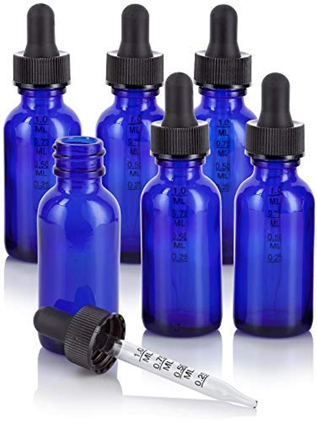 苦難運搬不良1 oz Cobalt Blue Glass Boston Round Graduated Measurement Glass Dropper Bottle (6 pack) + Funnel for essential...
