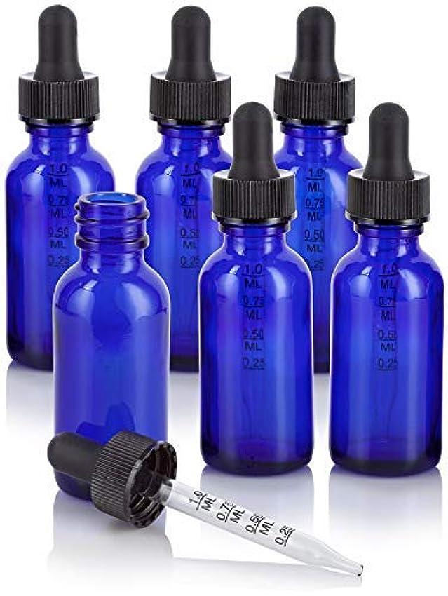 意気揚々安全家1 oz Cobalt Blue Glass Boston Round Graduated Measurement Glass Dropper Bottle (6 pack) + Funnel for essential...