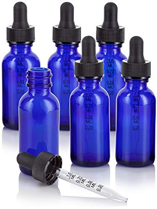 リーハーブ先生1 oz Cobalt Blue Glass Boston Round Graduated Measurement Glass Dropper Bottle (6 pack) + Funnel for essential oils, aromatherapy, e-liquid, food grade, bpa free [並行輸入品]