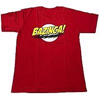 【並行輸入品】The Big Bang Theory ビッグバン★セオリー Theory/シェルドン/BAZINGA! プリントTシャツ ロゴTシャツ レッド Sサイズ Mサイズ Lサイズ 男女兼用 ~Lサイズは短めワンピースとしても人気~