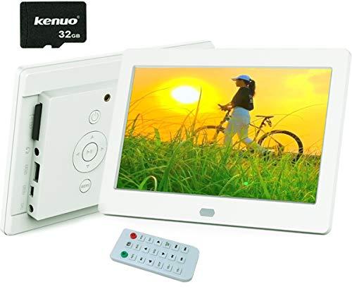 7インチ デジタルフォトフレーム 1280*800解像度 IPS視野角 高解像度 液晶 32GBカード付き 写真プレビュー/縦横自動判断可 高音質 写真/動画/音楽再生 時計/カレンダー/アラーム機能付き プレゼント リモコン付き Kenuo ホワイト