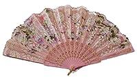 女性用レース扇子・せんす ドン・キホーテやスペインの踊り、キトリに 憧れのバレリーナ バレエ用 レース扇子 練習用 バレエ用品 (ピンク1)