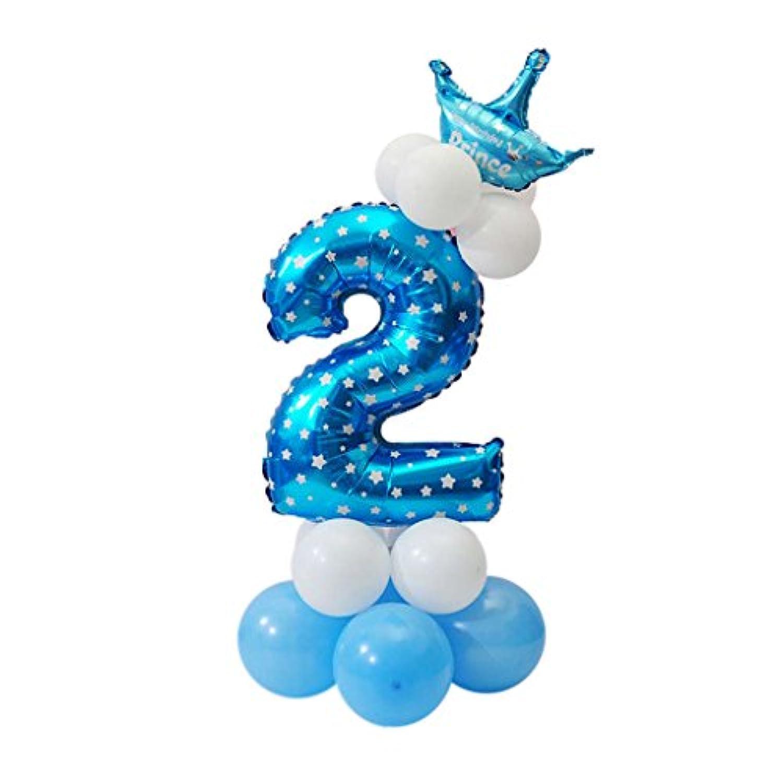 amleso バルーン 風船 クラウン アルミバルーン 数字 誕生日 パーティー用 部屋飾り ギフト キッズおもちゃ 全10タイプ - 番号2