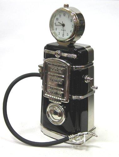 【ミニチュア時計・ガスポンプ】 おしゃれでちいさな置時計インテリア調度品 ケース付き
