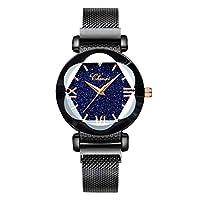 Lefancy レディース ガールズ ダイヤモンドフェイス 星空 磁気ストラップ メッシュバンド ブレスレット 腕時計 ブラック