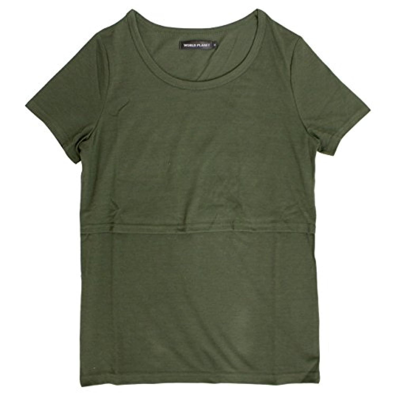 マタニティ 半袖 Tシャツ 無地 半袖Tシャツ 授乳服 産後対応 M L カーキ M