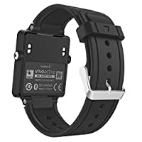 Garmin Vivoactive Watch Band,MoKo Soft Silicone Replacement Fitness Bands Wristbands with Metal Clasps for Garmin Vivoactive/Vivoactive Acetate Sports GPS Smart Watch - BLACK [並行輸入品]