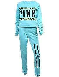 SODIAL プルオーバートラックスーツ 女性レディースレターピンクプリント スポーツスーツパーカー スウェットシャツ+パンツ(グリーンカラー、M)