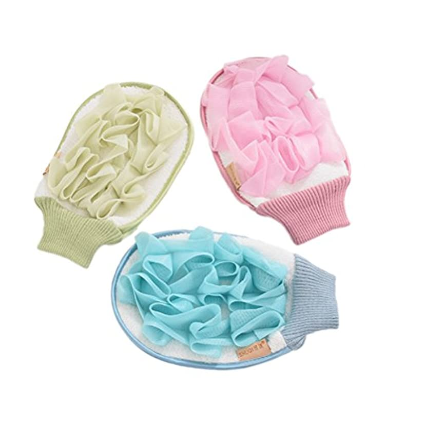 頭蓋骨教育路面電車Healifty ボディースポンジ シャワー用 グローブ シャワーボール 泡立てネット 背中も洗える メッシュ ボディ洗い泡肌美人 マッサージ 厚さ 3セット(色アソート)