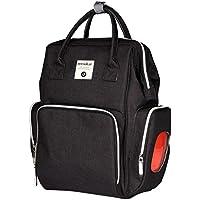 Prettyia ママ マタニティ  おむつ バッグ 大容量  幼児  バッグ  旅行  バックパック   耐水性  全5色 - ブラック
