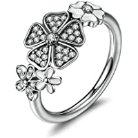 Ranipobo 925 Sterling Silver Ring Diamond Flower Rings for Women Girls Jewelry Rings