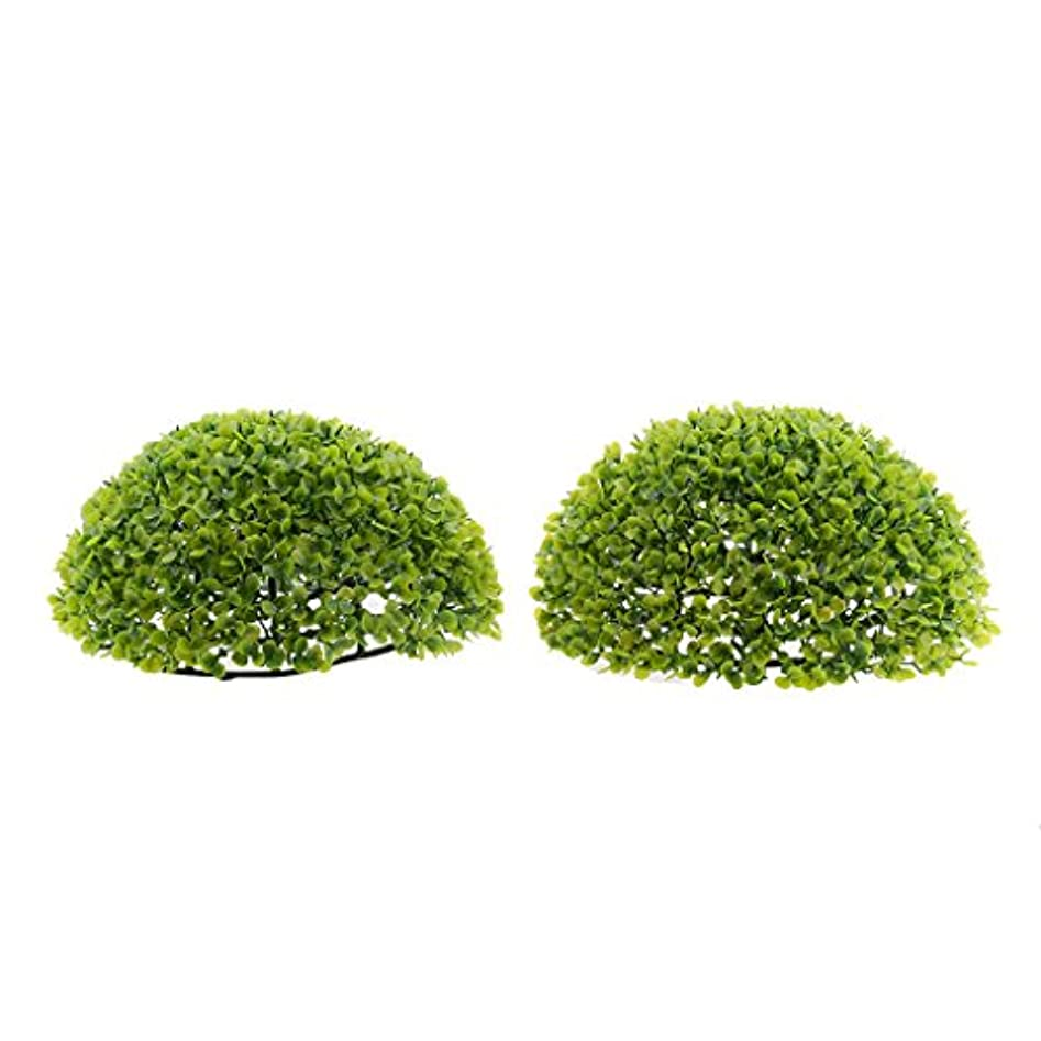 ラップトップシビック記述するFenteer 装飾 人工葉  観賞植物 球形 ホーム インテリア 屋外 紫&緑 2個半分 お手入れ不要 多サイズ   - グリーン27cm