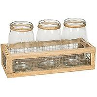 TripleガラスJarコンテナ9 x 15.5 Chickenワイヤ、デコレーション木製ストレージコンテナのセット4