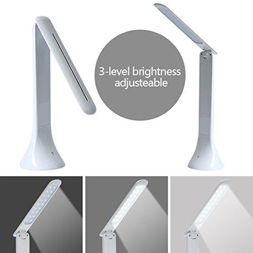 Leelbox LED デスクライト スタンド ターチセンサーで三段階の輝度調節 180°角度調整 折りたたみ式led卓上ライト ホワイト (FX-012 LED)