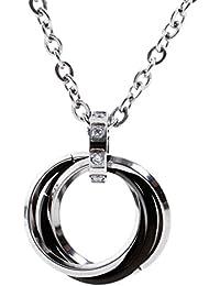 AQshop 3連 リング ネックレス メンズ ステンレス ブラック シルバー メンズ プレゼント ギフト 贈り物