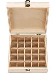 エッセンシャルオイル収納ケース 精油収納ボックス 大容量 25本入り 取り外し可能 木製 多機能 5ml?10ml?15mlの精油ボルトに対応 junexi