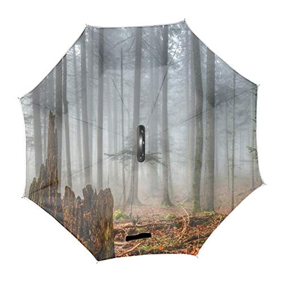 選択するセンチメートル桁逆折り式傘 長傘森林森林木トウヒモミ古い成長 耐風 撥水 二層日傘 UVカット 晴雨兼用 C型手元 両手解放可 男女共用