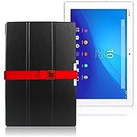 LOE Sony xperia Z4 tablet ソニー エクスペリア タブレット スマート カバー (Docomo SO-05G/au SOT31) オートスリープ 高級仕様 PUレザー ケース 液晶保護フィルム付 (XZC629 - ブラック)