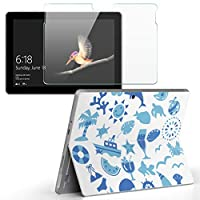 Surface go 専用スキンシール ガラスフィルム セット サーフェス go カバー ケース フィルム ステッカー アクセサリー 保護 海 夏 水色 013807