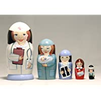 Nurse 5-piece Russian Wood Nesting Doll by Handcrafted in Russia