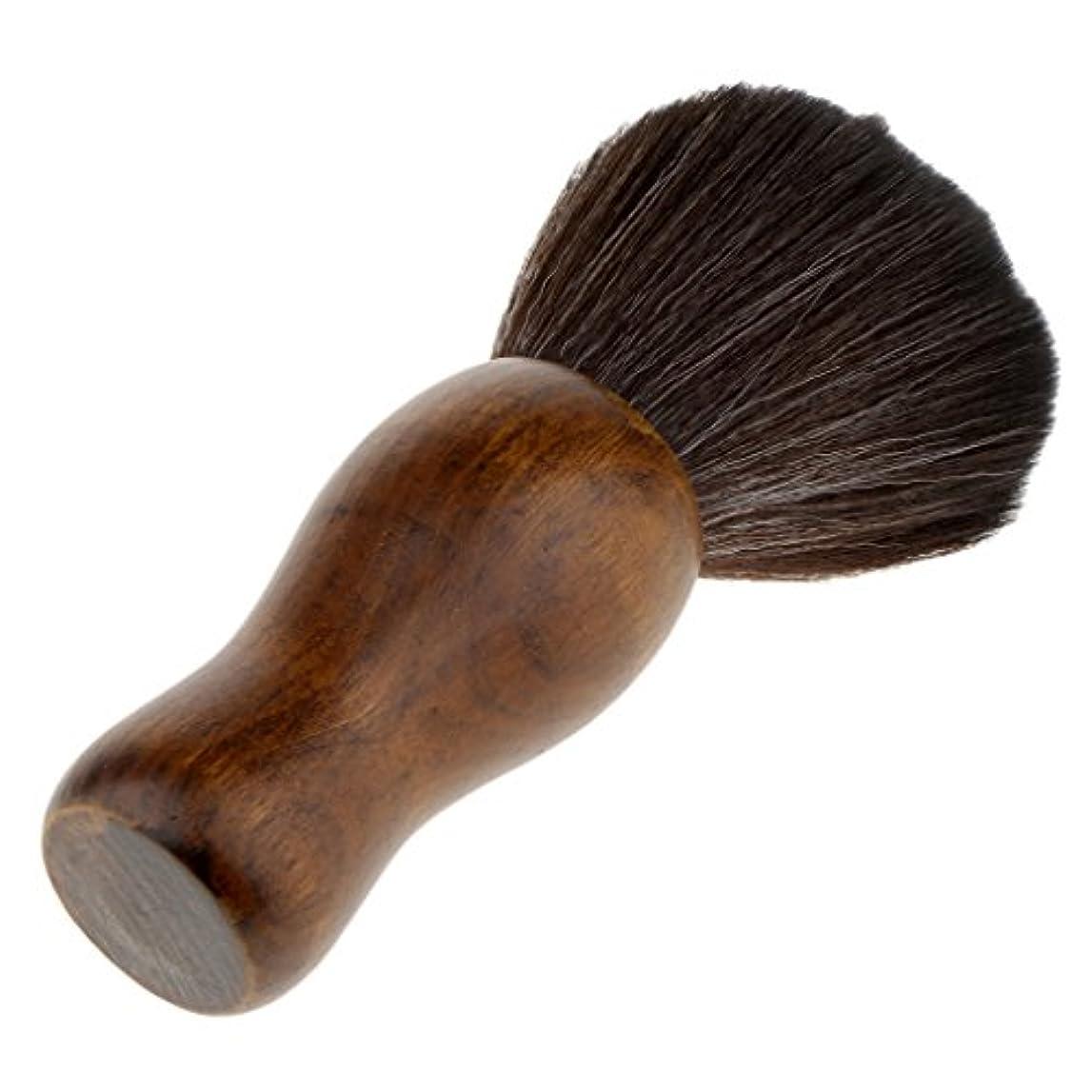 連想ブッシュお尻シェービングブラシ 化粧ブラシ ソフト 超柔らかい 繊維 シェービング メイクブラシ 木製 2色選べる - ブラック
