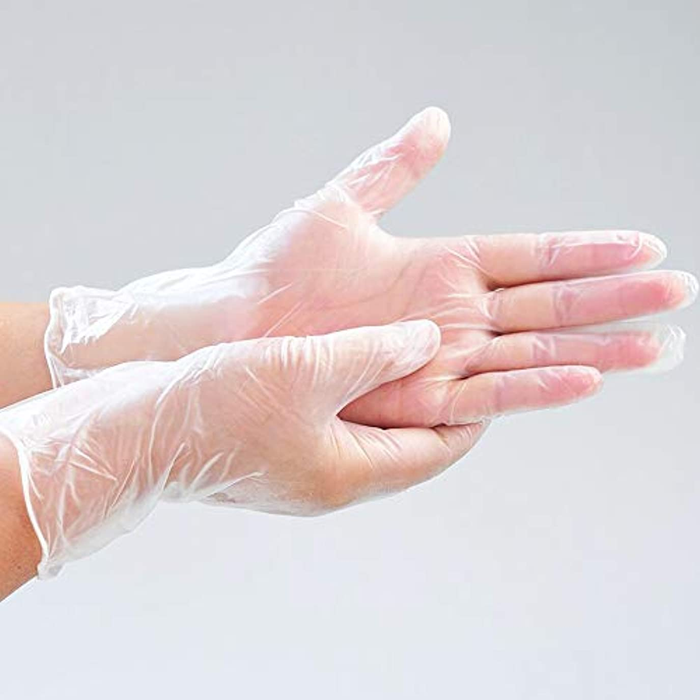 ブレス感情石灰岩OWSOO 使い捨てグローブ 使い捨て透明PVC手袋 パウダーフリー 肥厚 防水用 実用 衛生 使い捨て手袋 高温抵抗 引張抵抗 実験室 歯科 炊事 家事 バーベキュー ケータリング ホーム用 透明 100ピースM