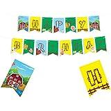 ファームテーマ ハッピーバースデー バナー - ファームハウス 楽しいパーティー用品 デコレーション - アニマルファーム パーティー用品 - バーン バースデーデコレーション - オールドマックドナルド パーティー用品 - バーニヤードパーティー用品 - ファームゲーム 誕生日装飾 - キッズパーティーデコレーション - 8x5.5インチ