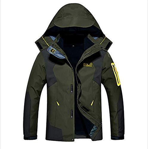 メンズ アウトドア ジャケット 裏フリース 3in1 コート 防水防風 アノラック ウンテンジャケット スキーウェア 登山服 军绿 L