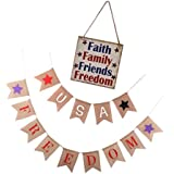 Fenteer USA Freedom ガーランド アメリカ 木製看板 アメリカフリーダム バングルバナー 7月4日 3タイプ選択可 - #3