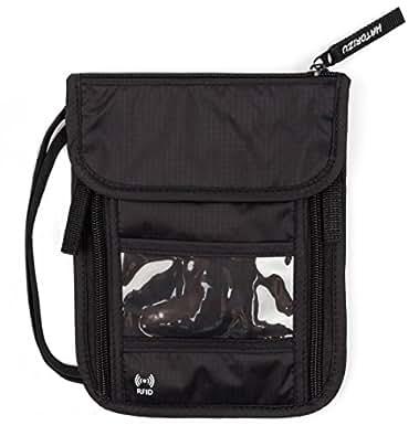 【 薄型 スキミング防止 キーホルダー付き 】 HATORIZU パスポートケース 首下げ 首掛け 防水 軽量 スキミング トラベル ネックポーチ 旅行