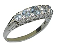 英国製 (イギリス製) K9 ホワイトゴールド 天然 アクアマリン スクロール デコ アンティーク 風 ハーフ エタニティ 5石 リング 指輪 各種サイズあり