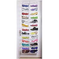 26 – ポケットをドアの靴ラックメタルHangingクリアプラスチック靴オーガナイザーシェルフハンガーホルダーストレージバッグ