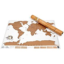 Unique Gifts Personalized Scratch Off World Map Poster Traveler Vacation Log World Map (Color: Brown)
