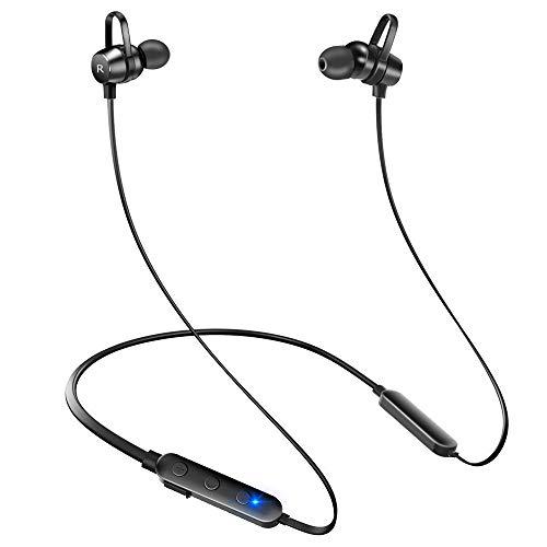 【12時間連続駆動】 Bluetooth イヤホン 高音質 ワイヤレス イヤホン スポーツ イヤホン マグネット IPX7完全防水 Hi-Fi重低音 日本語音声操作 カナル型 ハンズフリー通話 マイク内蔵 ブルートゥース イヤホン iPhone/Android対応 (ブラック)