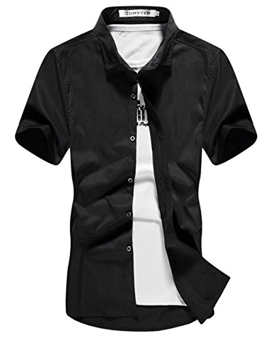 日焼けミシン等々InitialG イニシャルジー メンズ シャツ 無地 半袖 シャツ カジュアル インナーシャツ トップス 大きいサイズ 006-zqnz-095(L ブラック)