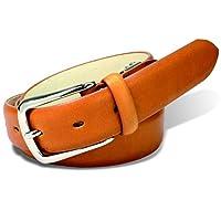[栃木レザー] メンズ PIN レザーベルト ビジネス カジュアル 本革 日本製 サイズ調整可能 5OO4907 (camel)