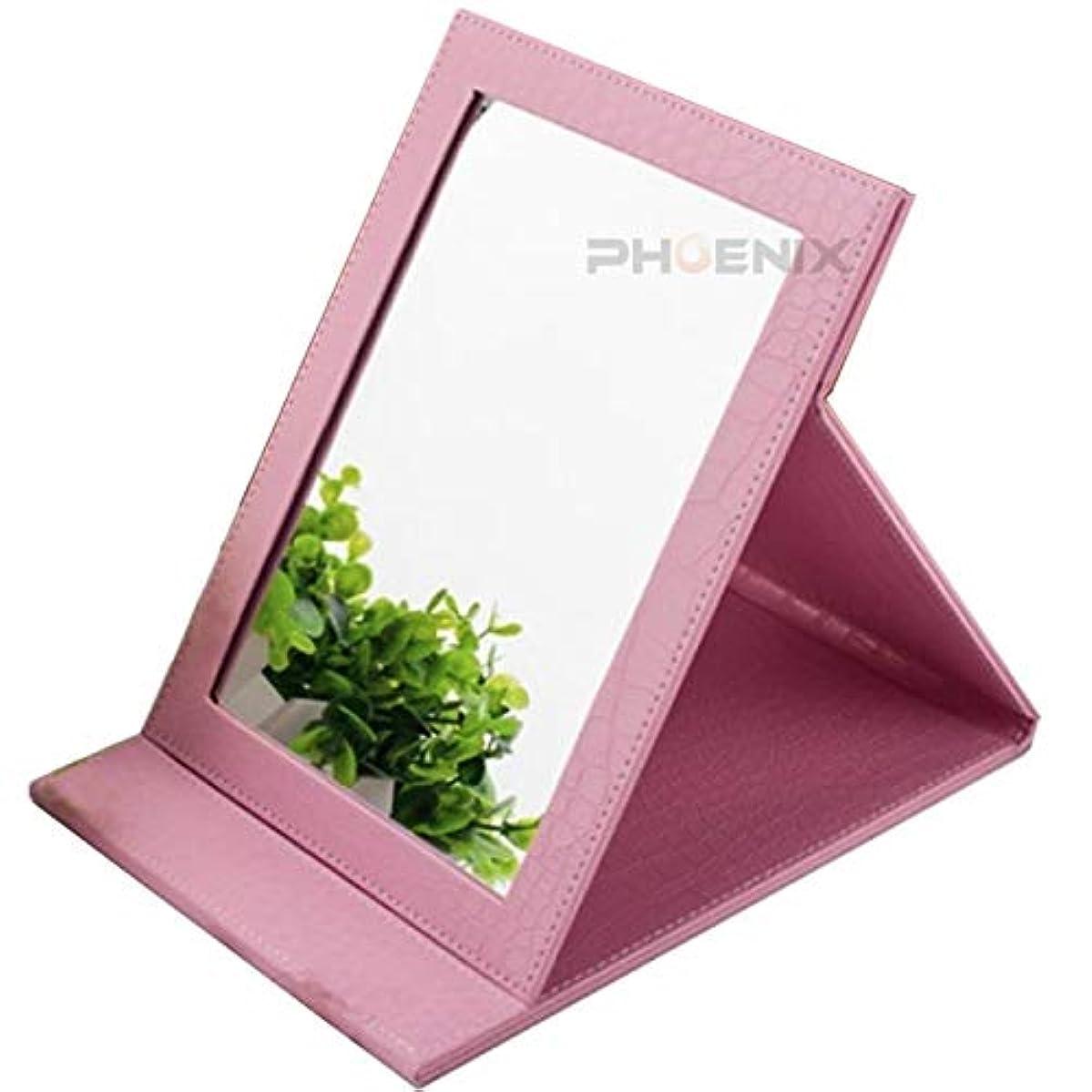 出口荒廃するオープナー卓上 ミラー 折りたたみ 化粧鏡 スタンドミラー テーブルミラー メイク ミラー おしゃれ 持ち運び 旅行 プレゼント 角度調整 中型 9カラー クロコダイル,ピンク