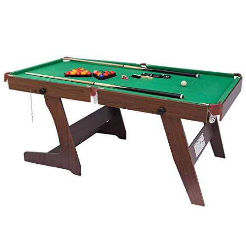 HLC 6FT 家庭用ビリヤードテーブル 卓上ゲーム グリーン キューと球セット付き