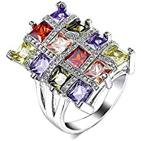 HSQYJ Rainbow Crystal Cocktail Rings Multi-Stone Party Club Ring Platinum Plated Square Cubic Zirconia Ring Fashion Luxury Jewelry for Women Girl Gift