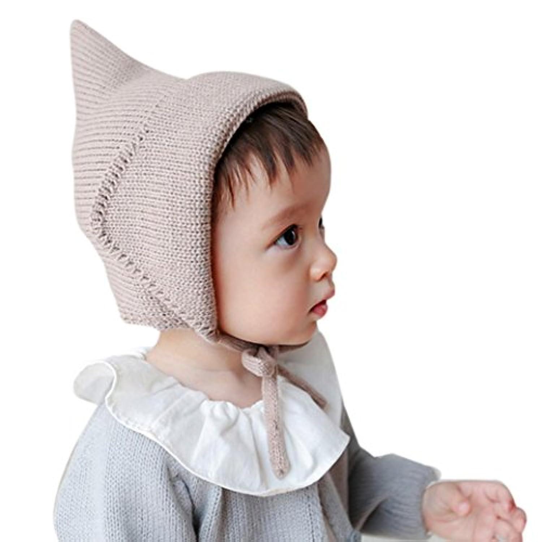 ベビーニットハット、misaky幼児少年少女キャップかぎ針編みソリッドビーニー暖かいキャップ